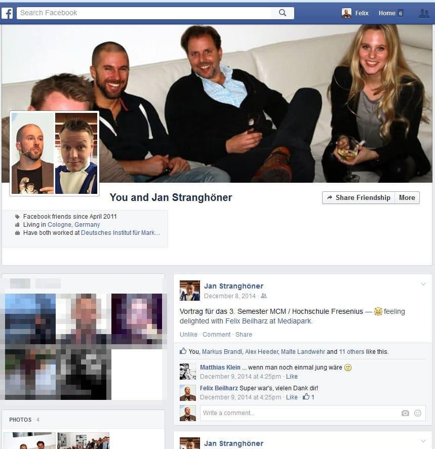 Gemeinsamkeiten zweiter Facebook-Profile
