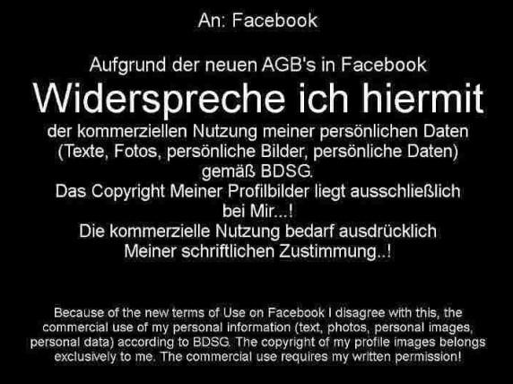 Blödsinn: Widerspruch gegen Facebook-AGB