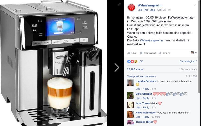 Nein, es gibt leider keine Kaffeemaschine zu gewinnen