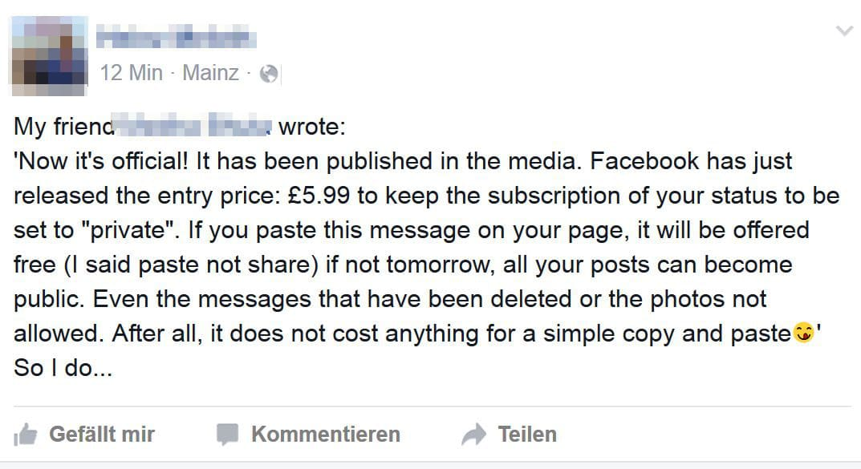 Neuer Facebook-Hoax: Privatsphäre wird abgeschafft, wenn man nicht bezahlt