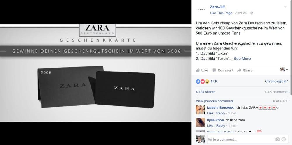 Gewinnspiel auf einer Fake-Seite, angeblich von Zara