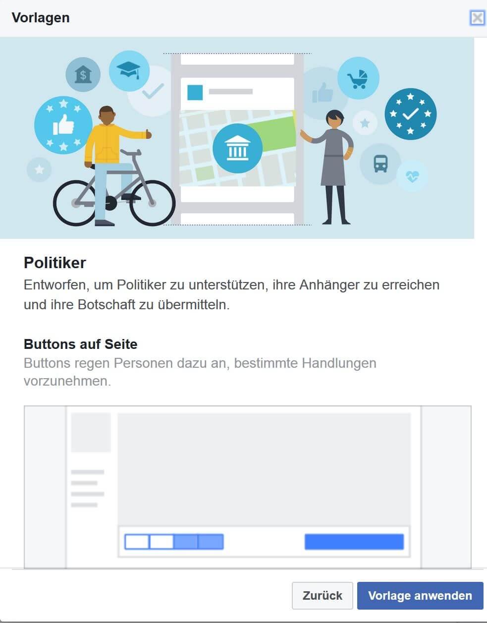 Neu: Vorlagen / Templates für Facebook-Seiten