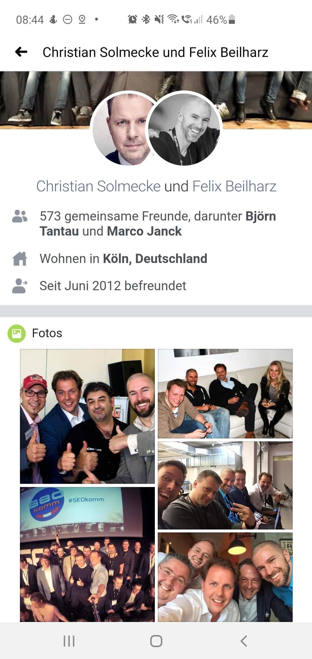 Gemeinsamkeiten zweier Facebook-Profile