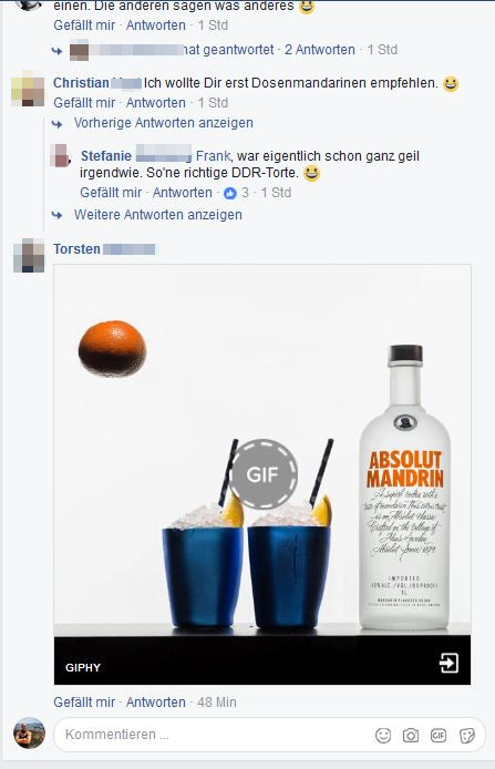 Animiertes GIF von Absolut Vodka in einem Facebook-Kommentar