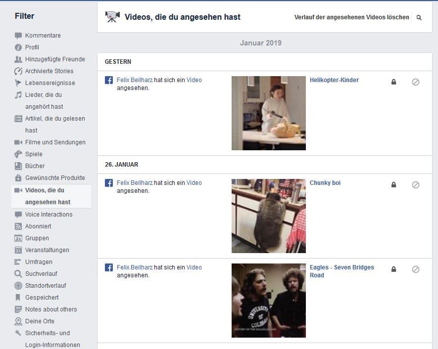 Facebook Videoverlauf