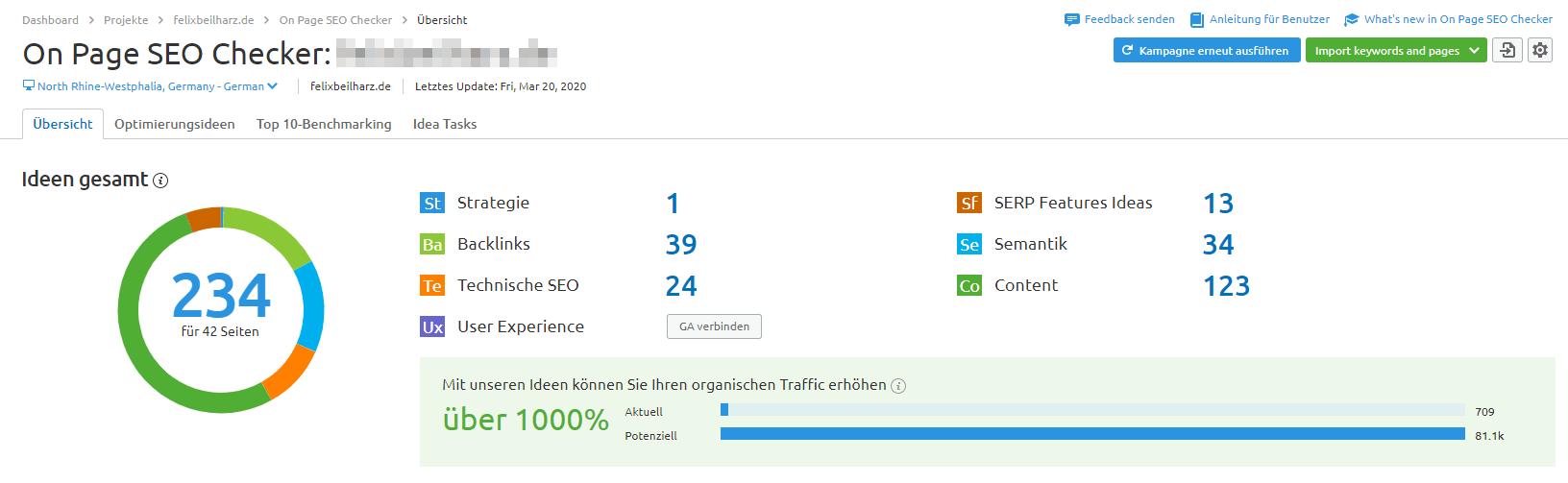 Onpage-Optimierungs-Empfehlungen von SEMrush