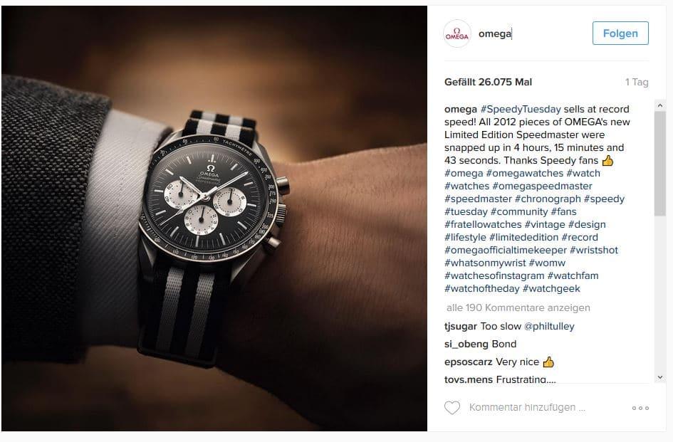 Omega verkaufte ein Sondermodell der Speedmaster-Uhr über Instagram