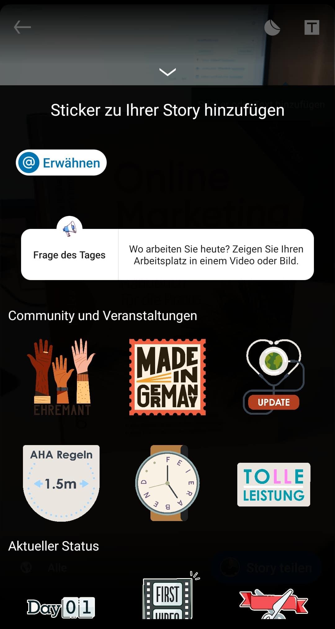 Sticker und Features in LinkedIn Stories